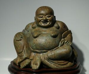 Large Antique Chinese Bronze Or Brass Buddha With Wood Stand