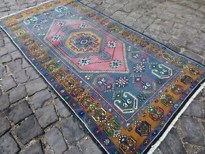 Vintage Turkish Oushak Area Rug Anatolian Wool Rug Antique Carpet 3 2x6 5 Ft Tg