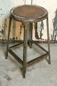 Vintage Industrial Metal Shop School Stool Chair 24 Seat Height