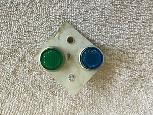 Nos License Blue Green Jeweled Fastener Vintage Reflector Accessory