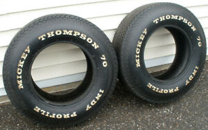 Vintage Pair 2 Mickey Thompson Indy Profile Bias Ply G 70 14 White Letter Tires