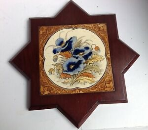 Pretty Victorian Edwardian Tile Set Into A Mahogany Frame