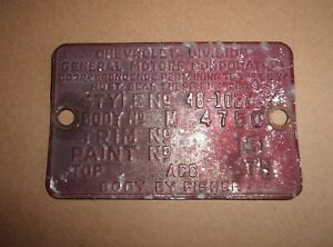 Cowl Body Tag 1948 Chevrolet Fleetmaster Two Door 48 Chevy 2 Dr