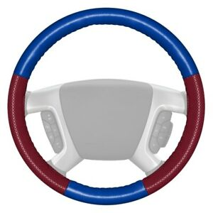 Europerf Perforated Cobalt Steering Wheel Cover W Burgundy Sides Color