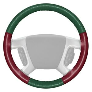 Europerf Perforated Green Steering Wheel Cover W Burgundy Sides Color