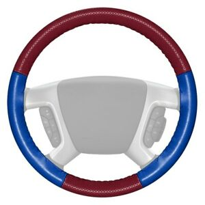 Europerf Perforated Burgundy Steering Wheel Cover W Cobalt Sides Color