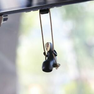Cute Anime Car Toy Faceless Man Pendant Rear View Mirror Swing Auto Decoration