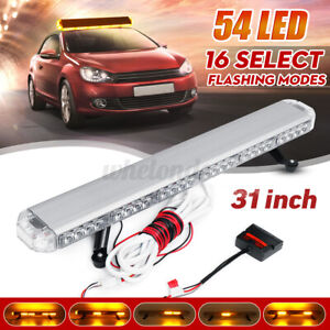 Amber 54 Led 31 Rooftop Emergency Strobe Light Bar Plow Tow Truck Warning Lamp