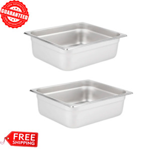 2 pack 1 2 Size 4 Deep Stainless Steel Steam Table Hotel Buffet Rectangle Pan
