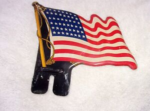 Vintage American Flag License Plate Topper Harley Indian Chevy Ford Usa