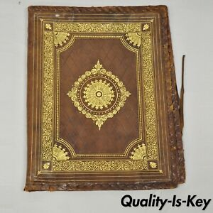 Vtg Italian Tooled Leather Brown Embossed Gold Gilt 17x13 Folio Document Case