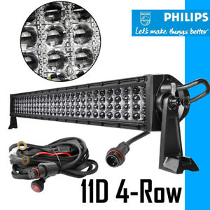 32inch 1200w Led Light Bar Quad Row Spot Flood Off Road Atv Marine Pickup 30 in