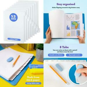 White Binder Dividers 12 X 8 Tab Set White Dividers For 3 Ring Binder With