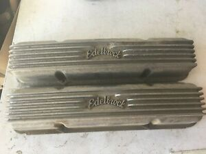 Edelbrock Finned Valve Covers Good Used Small Block Chevy Aluminum W Small Repa