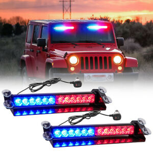 Led Emergency Warning Lights Red blue Visor Strobe Light Bar Traffic Advisor 2x