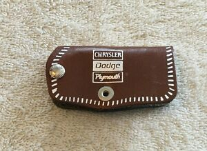 Vintage Chrysler Plymouth Dash Accessory Leather Key Case Nos Keychain Fob Dodge