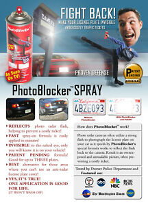 Photoblocker Red Light Camera License Plate Spray As Seen On Tv Be Protected