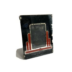 Vintage 40s Or 50s Black Red Silver Art Deco Glass Table Top Picture Frame 4x5