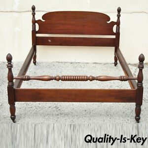Antique Mahogany 4 Poster Full Size Bed Frame Pineapple Acorn Finial Post
