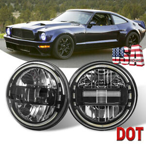 Pair 7inch Round Led Headlight High low Beam Halo Drl For Ford Mustang 1965 1978