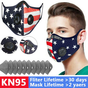 Flag Printed American Face Shield Nose Cover Valve Filter Pads Protective Unisex