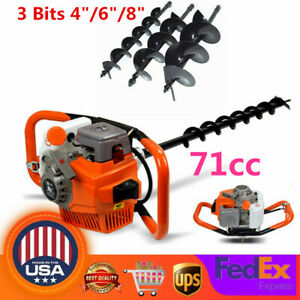 71cc Gas Powered Earth Auger Post Hole Digger Fence Borer 3 Drill Bits 3 2kw