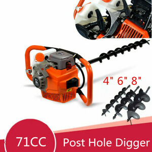 71cc Gas Powered Post Hole Digger Auger Borer Fence Ground 4 6 8 Drill Bits