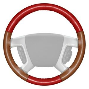 Wheelskins Eurotone Two color Red Steering Wheel Cover W Tan Sides Color
