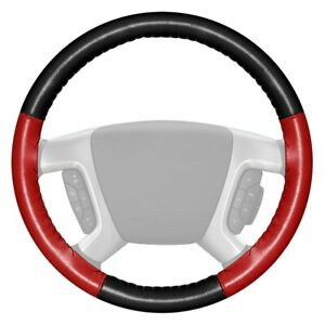 Wheelskins Eurotone Two color Black Steering Wheel Cover W Red Sides Color
