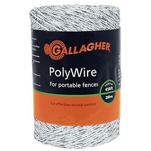 Gallagher G620044 Electric Polywire Fence 656 feet White