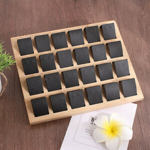 Bamboo Tray Earrings Display Stand Rack Jewelry Ear Studs Holder Black