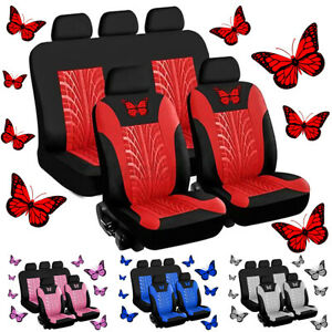 9x Front Rear Car Seat Covers Set 5 Seat Protector Cushion 3d Butterfly Pattern