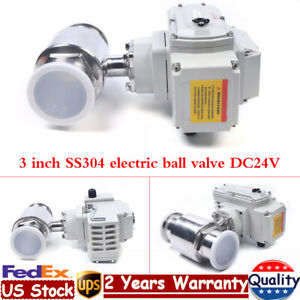 3 Electric Clamp Ball Valve Unidirectional Straight through Stainless Steel 24v