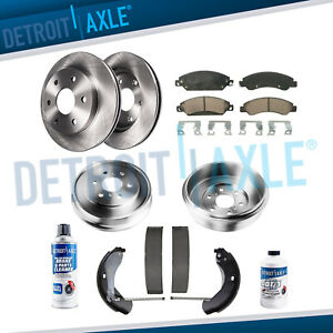 Front Disc Rotor Ceramic Pads Rear Drum For 2005 2006 2008 Silverado Sierra 1500