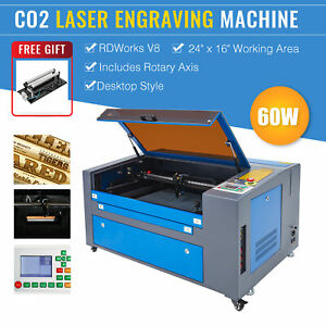 Omtech 60w 24x16 Inch Co2 Laser Engraver Engraving With Ruida Rotary Axis New