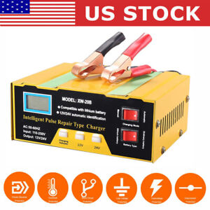 12v 24v Electric Car Battery Charger Lcd Display Smart Lead Acid Pulse Repair Us