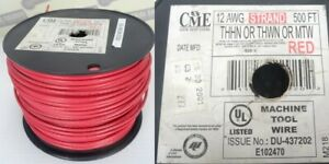 Cme Wire And Cable 12 Awg Stranded 500ft Spool Red Thhn Thwn Mtw new