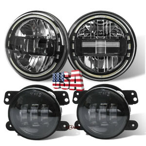 Dot Approved 7 Round Led Headlights Fog Lamps Set For Jeep Wrangler 1997 2017