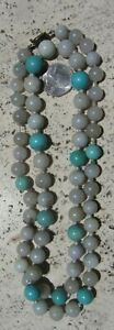 Antique Chinese Vermeil White Jade Large Bead Necklace Turquoise 134 Gram 34 5