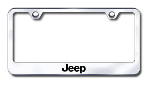 Automotive Gold Jeep Laser Etched Stainless Steel License Plate Frame Auglfjeeec