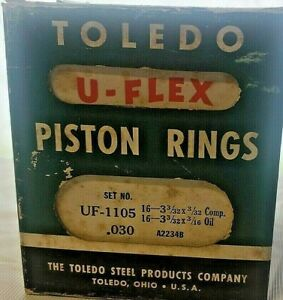 Nos Box Of Toledo U flex Piston Rings Uf1105 Std 8 Sets Antique Car Auto Parts