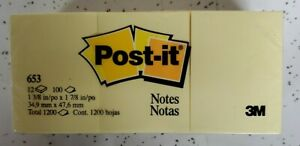 Post it Notes 653 1 3 8 In X 1 7 8 In Canary Yellow 12 Pack 100 Each