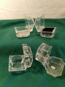Lot Of 4 Vintage Clear Faceted Lucite Ring earring Jewelry Boxes