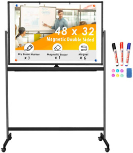 Double Sided Rolling Whiteboard 48 X 32 Inches Large Mobile Whiteboard Magnetic