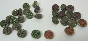 Vintage Lot Of 29 Brass Picture Buttons Fence Floral Design