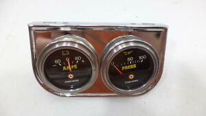 Vintage Stewart Warner Gauges Oil Pressure Battery Chrome Gauge Panel 60s 70s