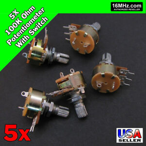5x 100k Ohm Linear Taper Rotary Potentiometer B100k W on Off Switch Us 5pcs U50