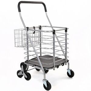 Seville Classics Folding Rolling Steel Wire Basket Trolley Grocery Shopping Cart