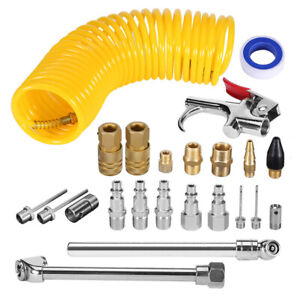 20 Pcs Air Compressor Accessory 25ft Recoil Hose Gun Nozzles Set Tool Us