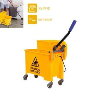 Mini Mop Bucket W wringer Combo 20l Commercial Rolling Cleaning Cart Yellow